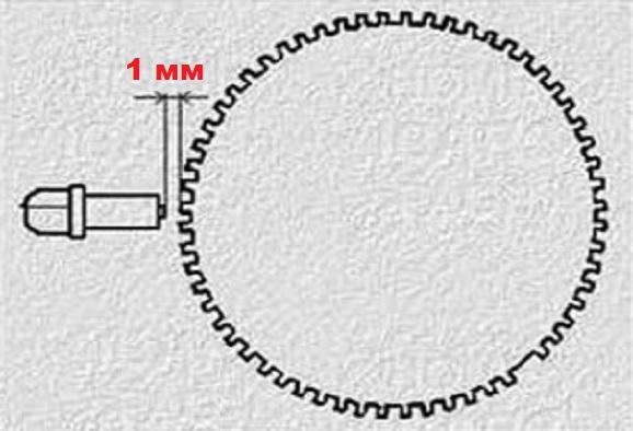 Зазор между шкивом и сердечником датчика коленвала на ВАЗ 2114