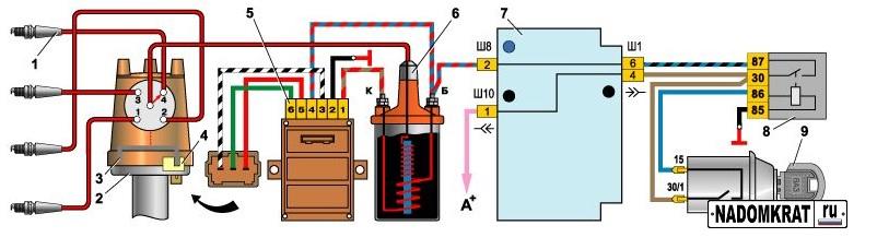 Схема зажигания ваз 2105