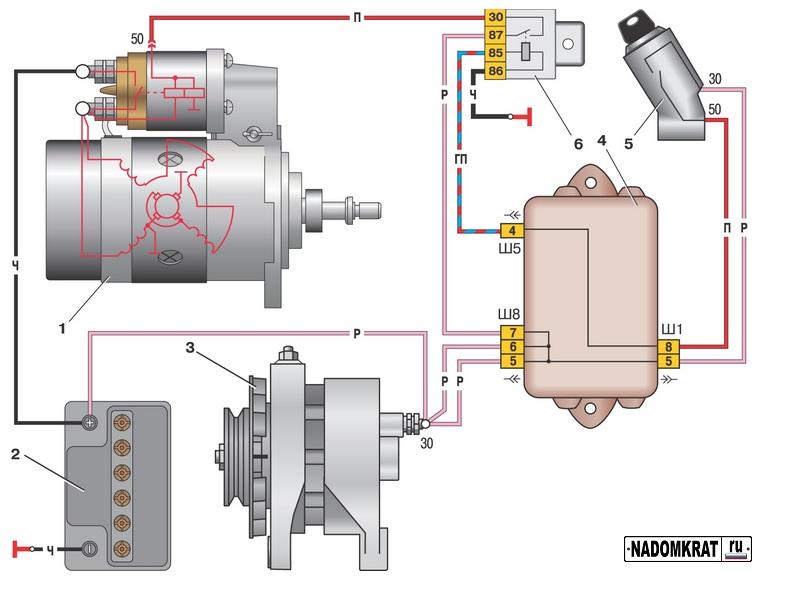 Схема подключения стартера ВАЗ 2114